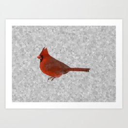 Geometric Cardinal in the Snow Art Print
