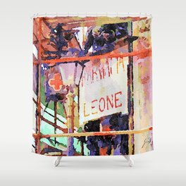Catanzaro: pharmacy sign with lamp post Shower Curtain