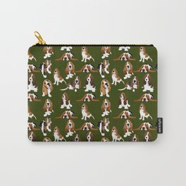 Basset Hounds on Moss Carry-All Pouch