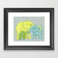 Elephant Family of Three Framed Art Print