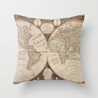 world map Throw Pillows featuring World Map by Le petit Archiviste