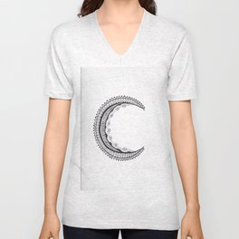 Crescent Mandala Moon Unisex V-Neck