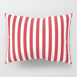 Vertical stripes - red and white Pillow Sham