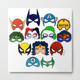 Superhero Masks Metal Print