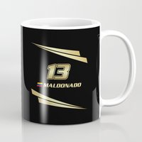f1 Mugs featuring F1 2015 - #13 Maldonado by MS80 Design
