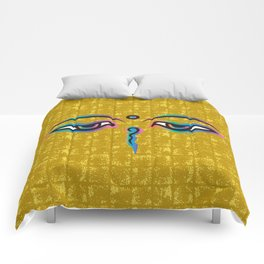 Eyes of God of India on Gold-leaf Screen Comforters