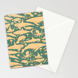 Minimalist, yellow and blue pattern of sea animals Stationery Cards