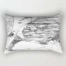 Vintage Cape Cod and NYC Steamboat Route Map BW Rectangular Pillow