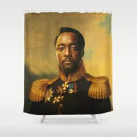 replaceface Shower Curtains featuring will.i.am - replaceface by replaceface