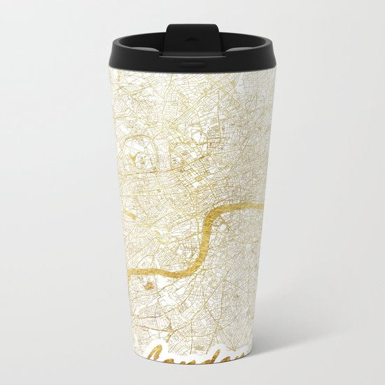 London Map Gold Metal Travel Mug