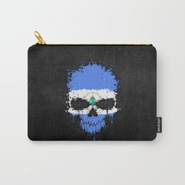 Flag of Nicaragua on a Chaotic Splatter Skull Carry-All Pouch