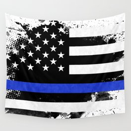 Distressed Thin Blue Line American Flag Wall Tapestry