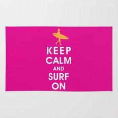 Keep Calm and Surf On (Surfer Girl) Rug