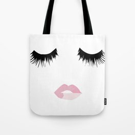 Eyelash Lip Print Tote Bag
