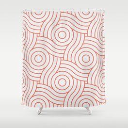 Pantone Living Coral Circle Swirl Pattern on White Shower Curtain