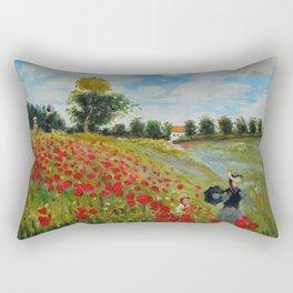 Poppy Field in Argenteuil by Claude Monet Rectangular Pillow