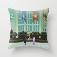 hogwarts Throw Pillows featuring Hogwarts by FuliFuli