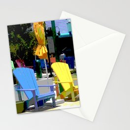 Brightly Colored Chairs Stationery Cards