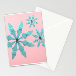 Snowflakes (cyan and pink) Stationery Cards