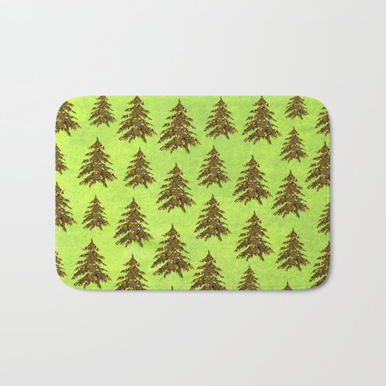 Sparkly Gold Christmas tree on abstract green paper Bath Mat
