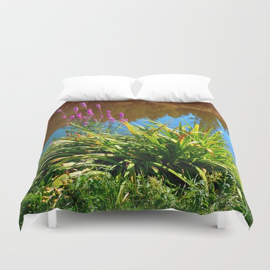 Flowers at the pond Duvet Cover