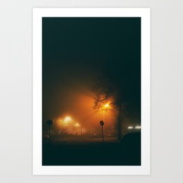 A Foggy Night Art Print
