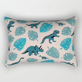 Dinosaur jungle illustration pattern blue teal boys print Rectangular Pillow
