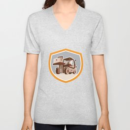 Forklift Truck Materials Handling Logistics Shield Unisex V-Neck