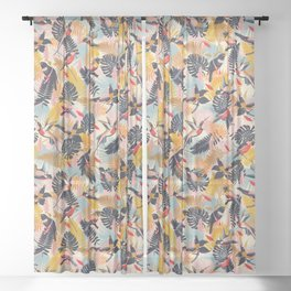 Paradise Birds II. / Small Scale Pattern Sheer Curtain