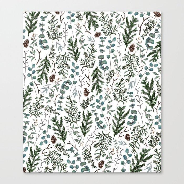 Pine and Eucalyptus Greenery Leinwanddruck