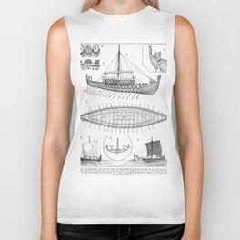 Vintage Viking Naval Ship History and Diagram Biker Tank
