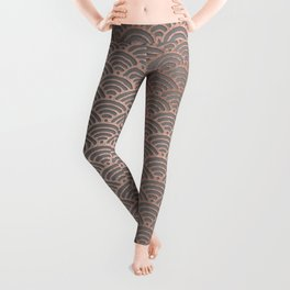 Rose gold mermaid pattern-on gray background Leggings