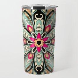 Tribal Geometric brown and green Mandala Travel Mug
