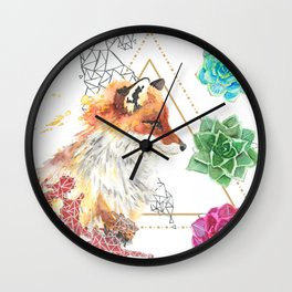 Fox with Succulents Wall Clock