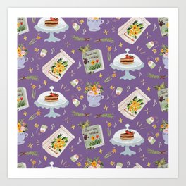 Tea time pastel pattern - VIOLET Art Print