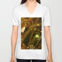 deco V-neck T-shirts featuring Golden Deco by IowaShots