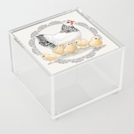 Mother Hen and Her Chicks in Crochet Wreath Acrylic Box