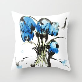 Music Clear and Blue: an elegant design of beautiful bellflowers in a glass vase Throw Pillow