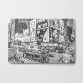 Times Square II (black & white pen and ink sketch) Metal Print