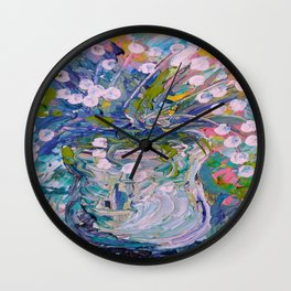 White Flower Abstract Wall Clock
