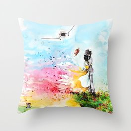 """By the cliff"" Throw Pillow"