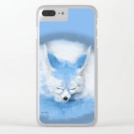 Sleeping Fennec Fox Blue Clear iPhone Case