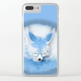 Sleeping Fennec Fox Blue Clear iPhone Case