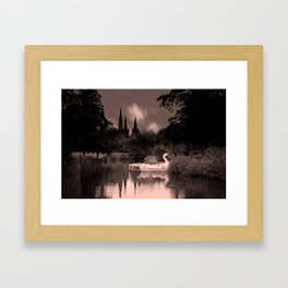 Swan Boats In The Reflection Of Lichfield Cathedral Framed Art Print