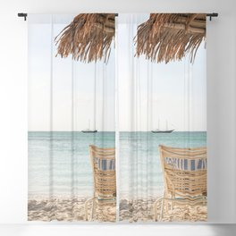 Summer Holiday Beach Photo | Aruba Island Ocean View Art Print | Caribbean Nature Travel Photography Blackout Curtain
