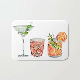 Classic Cocktails  – 1960s Watercolor Lineup Bath Mat
