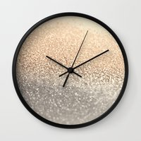black and gold Wall Clocks featuring  GOLD by Monika Strigel