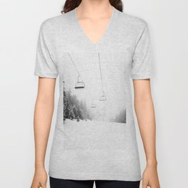 Snow Lift // Ski Chair Lift Colorado Mountains Black and White Snowboarding Vibes Photography Art Print Unisex V-Neck