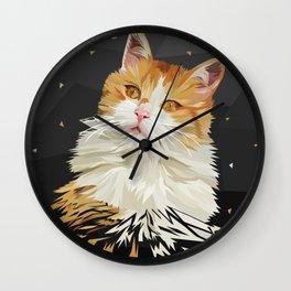Low Poly Cat Drawing Geometric Kitty Wall Clock