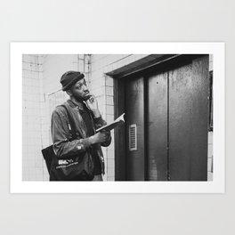 Man with a Book Waiting Elevator, B Art Print